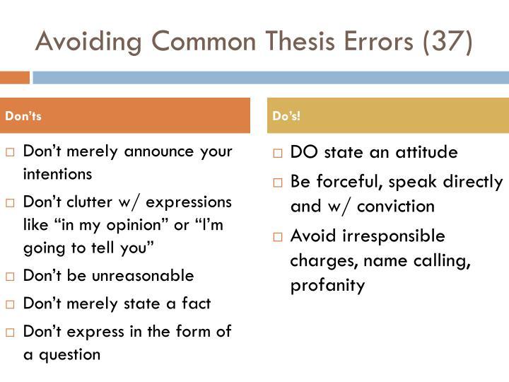 Avoiding Common Thesis Errors (37)