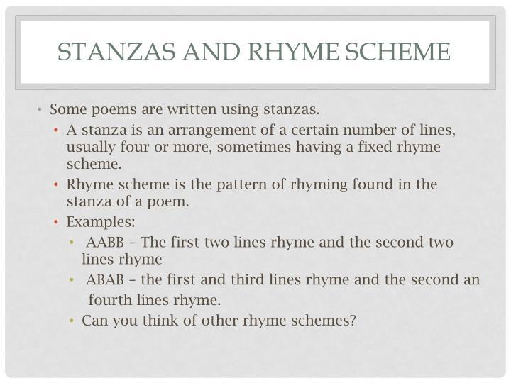 Stanzas and rhyme scheme