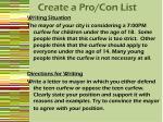 create a pro con list
