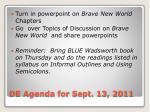 de agenda for sept 13 2011