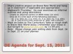 de agenda for sept 15 2011