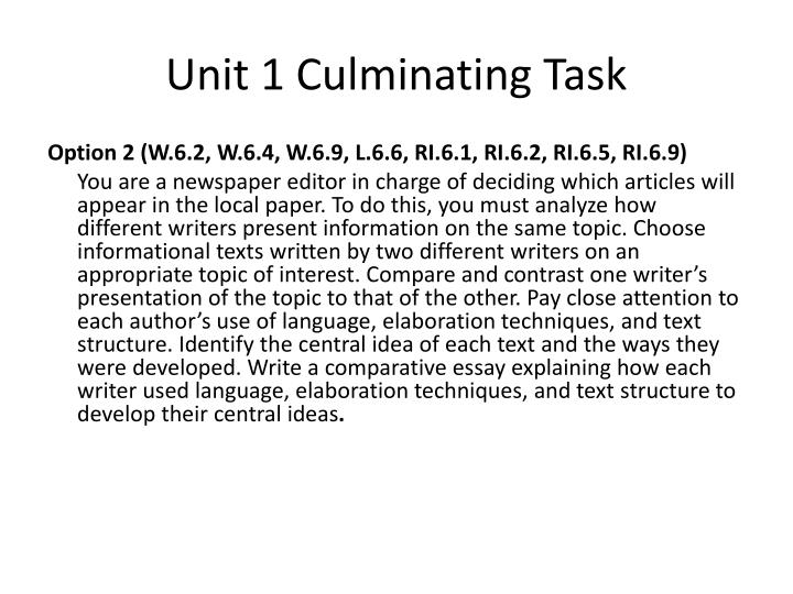 unit 1 culminating task n.
