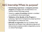 ed s internship whats its purpose