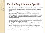 faculty requirements specific