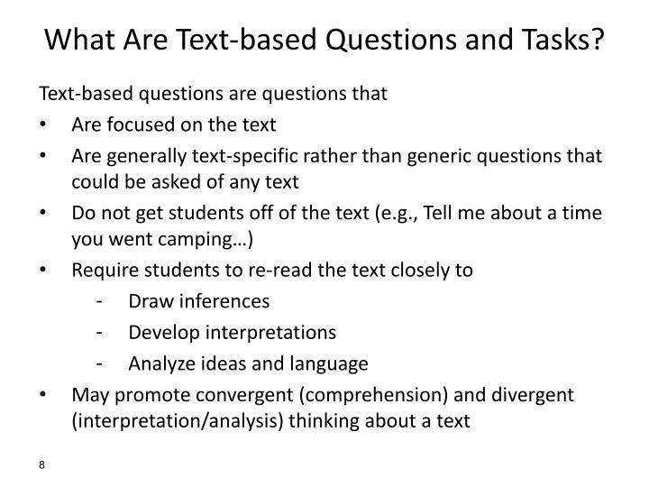 What Are Text-based Questions and Tasks?