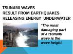 tsunami waves result from earthquakes releasing energy underwater