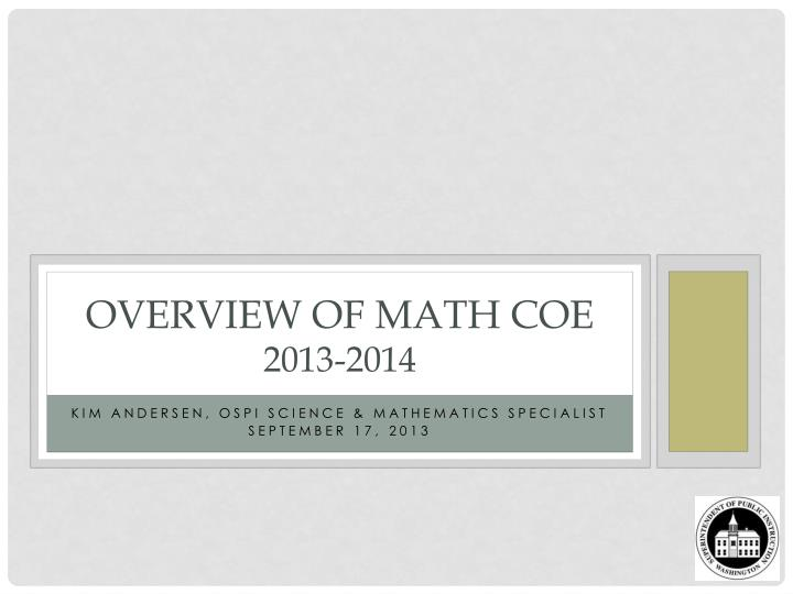 overview of math coe 2013 2014 n.