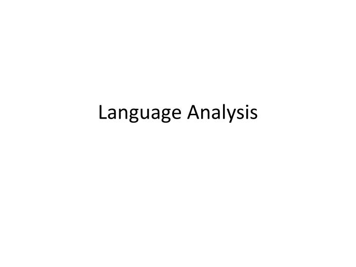 language analysis n.