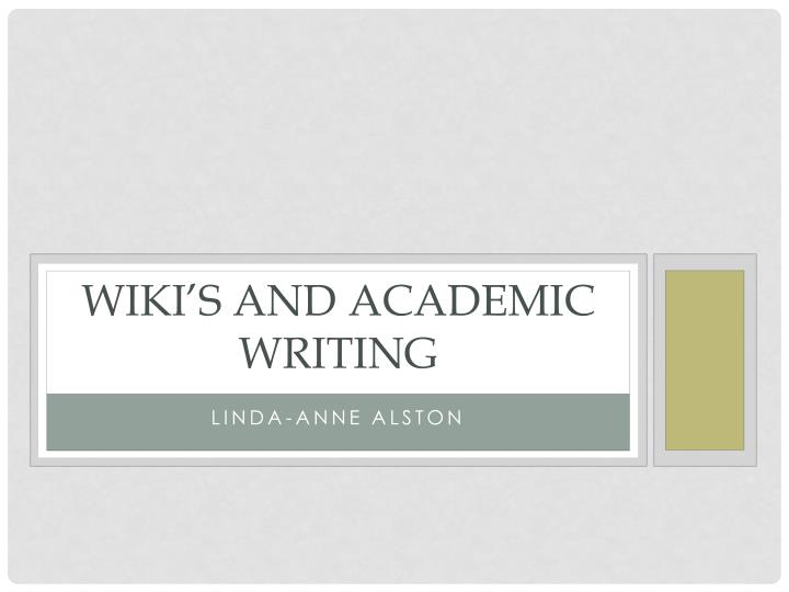 wiki s and academic writing n.