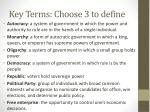 key terms choose 3 to define