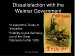 dissatisfaction with the weimar government