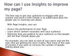 how can i use insights to improve my page