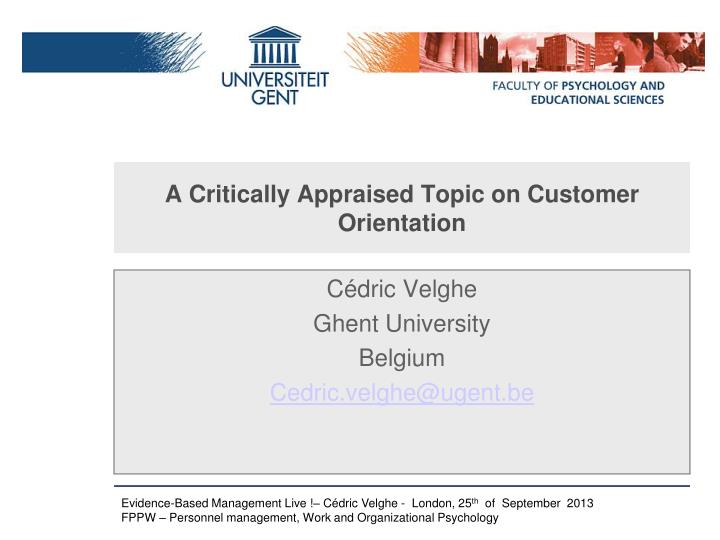 a critically appraised topic on customer orientation n.