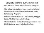 congratulations to our commended students in the national merit program
