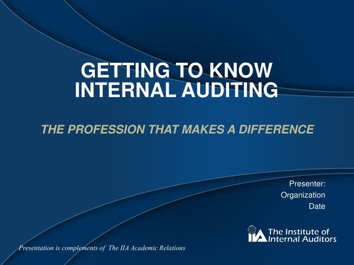 getting to know internal auditing n.