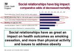 social relationships have big impact comparative odds of decreased mortality