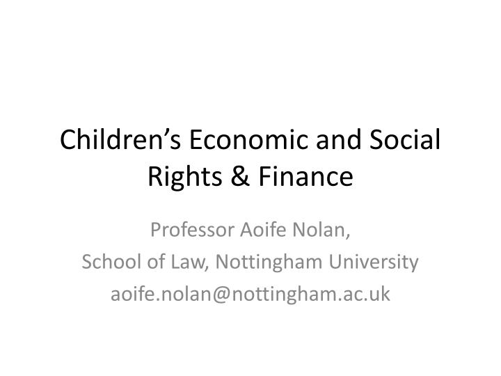 children s economic and social rights finance n.