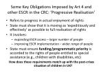 some key obligations imposed by art 4 and other escr in the crc progressive realisation
