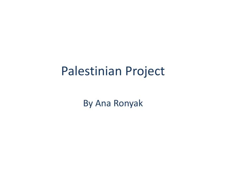 palestinian project n.