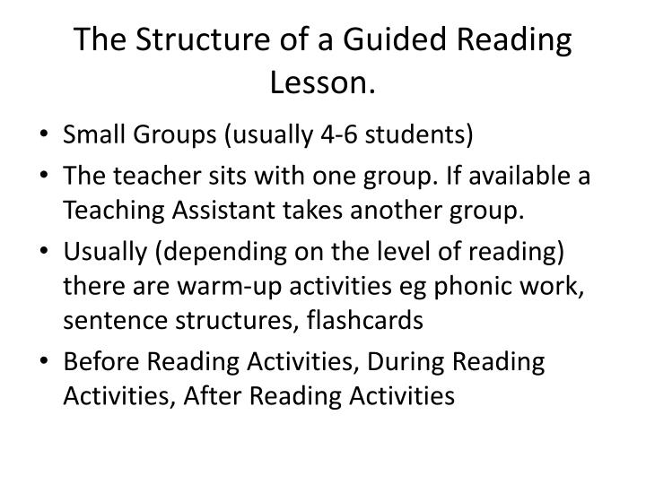 The structure of a guided reading lesson
