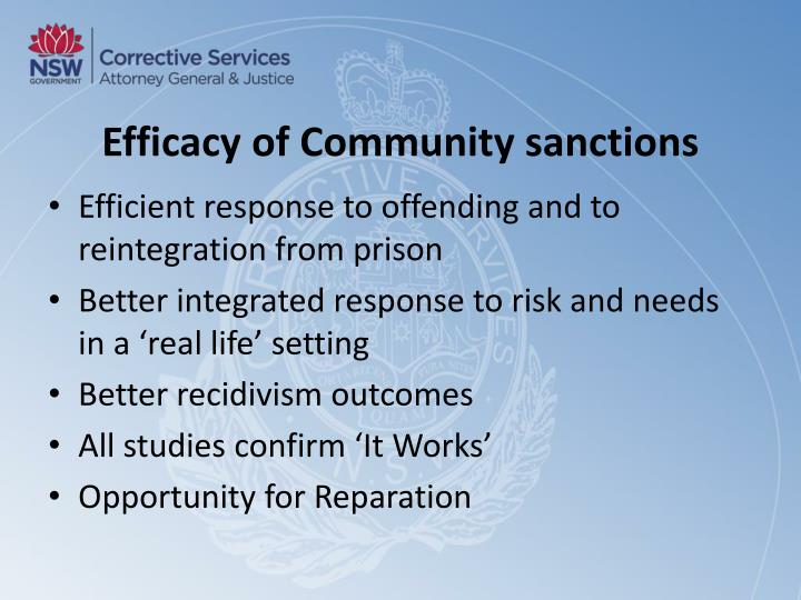 Efficacy of Community sanctions