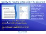 identify the heading styles used in the document