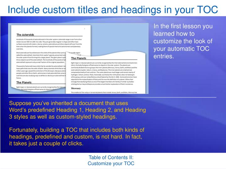 include custom titles and headings in your toc n.