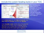 include the custom heading styles in your toc