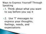 ways to express yourself through speaking