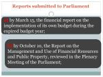 reports submitted to parliament