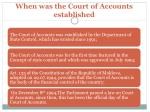 when was the court of accounts established