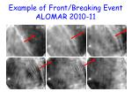 example of front breaking event alomar 2010 11