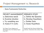 project management vs research