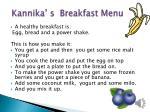 kannika s breakfast menu