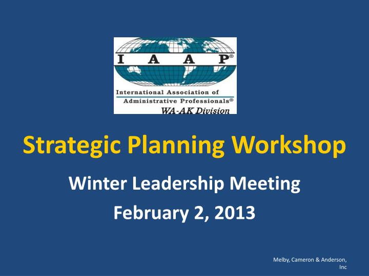 strategic planning workshop n.