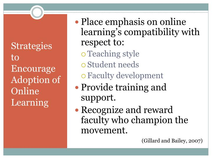 Place emphasis on online learning's compatibility with respect to: