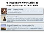 v2 engagement communities to share interests or to share work