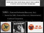 how did the new deal help the labor unions and factory workers1