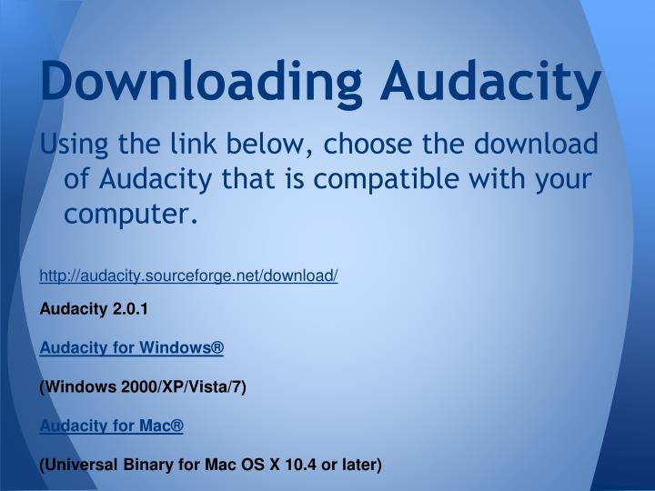 Downloading Audacity