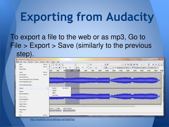 Exporting from Audacity