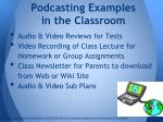 podcasting examples in the classroom