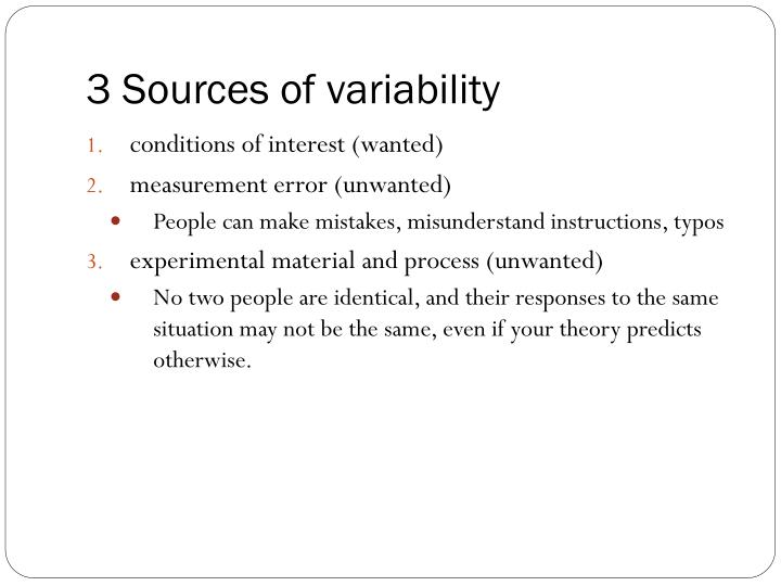 3 Sources of variability