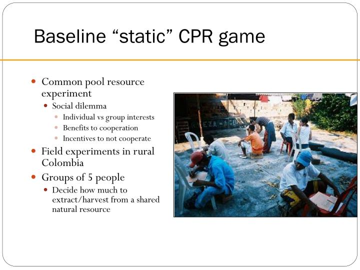 """Baseline """"static"""" CPR game"""
