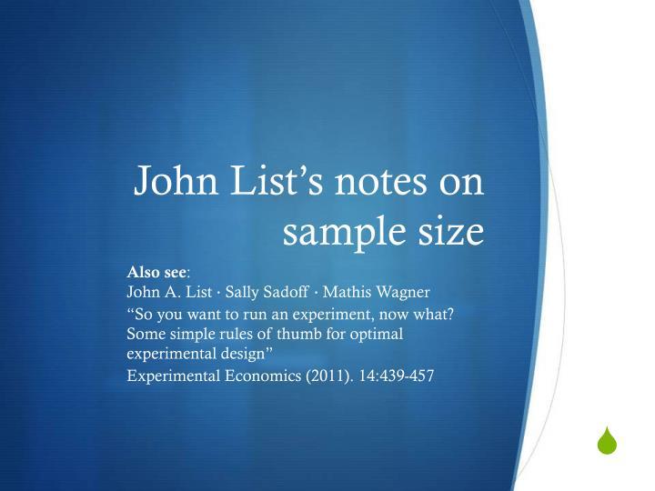 John List's notes on sample size