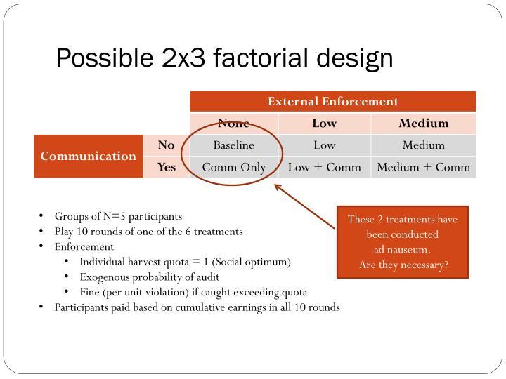 Possible 2x3 factorial design