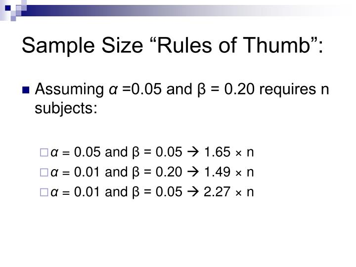 """Sample Size """"Rules of Thumb"""":"""