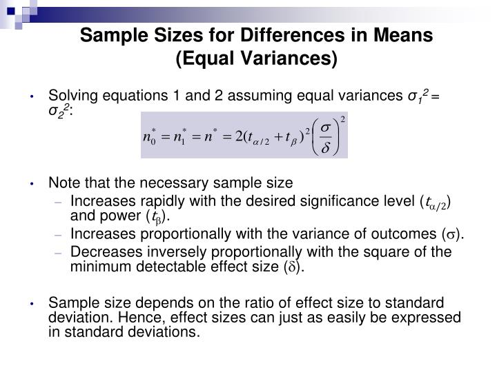 Sample Sizes for Differences in Means