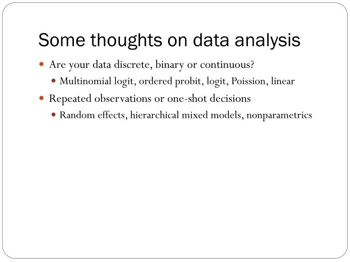 Some thoughts on data analysis