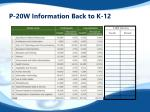 p 20w information back to k 12