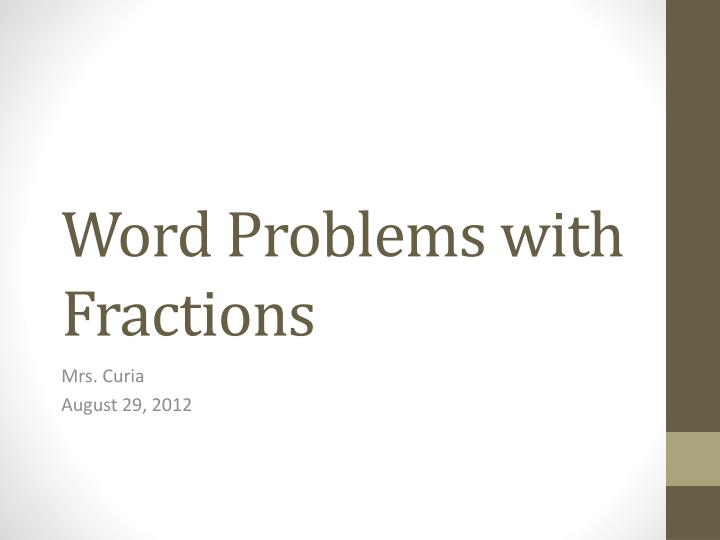 word problems with fractions n.